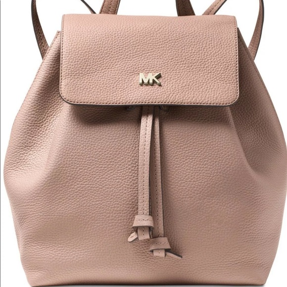 Michael Kors Junie Flap Backpack Leather Fawn Gold